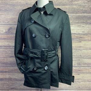 Jessica black short trench button up lined coat